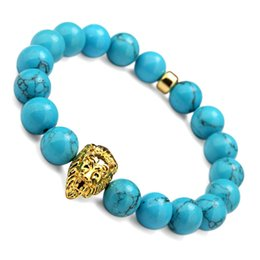 Wholesale Natural Blue Turquoise Beads - Blue Elastic Beads Bracelet & Bangle Natural Stone With Gold Lion Head Blue Round Bead The Best Gifts For Men Women Jewelry