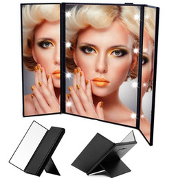 Wholesale Makeup Mirror Battery - Tri-Fold Led Lighted Travel Makeup Mirror Portable and Compact Cosmetic Mirrors Black Pink Do not come with Battery P027