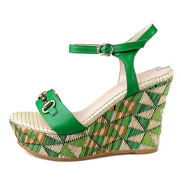 Wholesale Sexy Beige Platform Heels - 2017 Summer sandals Genuine leather Sexy ladies 10 cm high heels Green Wedges platform sandal Shoes Woman Size 34-39 Box Packing XSL-L783
