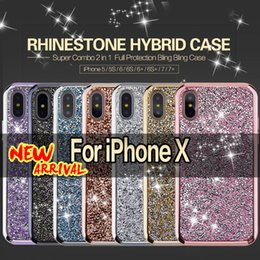 Wholesale Diamond Bling Cover - Hybrid 2 in 1 Phone Cases Diamond Rhinestone Bling Back Cover Cell Phone Cases For iPhone X ,8, 7, 6, 5