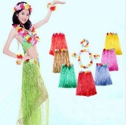 Wholesale Tutu Head - Hawaiian Hula Grass Skirt Flower Dress Beach Dance Skirt Hula Grass Skirts TuTu Garlands Bracelet Head Grass Skirts 5 PCS  1SET KKA2209