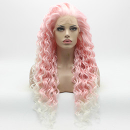Wholesale Long White Wig Curly - Iwona Hair Curly Long Pink Root White Ombre Wig 18#3100B 1001 Half Hand Tied Heat Resistant Synthetic Lace Front Wigs