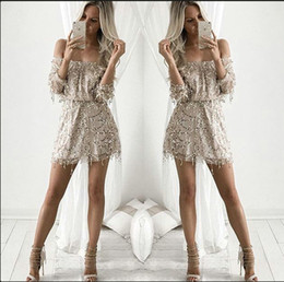 Wholesale Casual Dress Stores - 2016 Short Sequines Dresses Cheap mini prom Party Gowns Sequines Dresses Off Shoulder Slash Neck Long Sleeved Mesh Shorts Dresses In Store