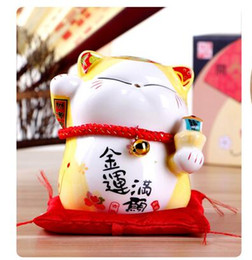 Wholesale Gold Piggy Bank - Lucky Cat ornaments Home Furnishing ceramic jewelry creative savings piggy bank shop opened a felicitous wish of making money 13CM