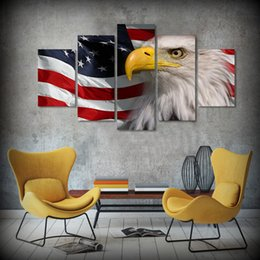 Wholesale Acrylic Frame Sheet - 5 Pcs Set Framed HD Printed Flag and Eagle American Flag Picture African Decorative Modern Art Stretch Canvas Acrylic Painting