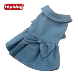 Wholesale Pretty Pet Dog Clothes - Hipidog Wedding Party Dress Spring Summer Pet Dog Jean Dress Skirt Puppy Dog Lace Dress Bowknot Pretty Skirt Clothing Free Shipping
