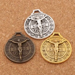 Wholesale Bronze Slide - Saint Jesus Benedict Patron Medal Crucifix Cross 70pcs lot Antique Silver Gold Bronze Charm Beads Pendants 24x21mm L1658