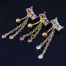 Wholesale Navel Percing - 1Pc Delicate AA Zircon Belly Button Rings Navel Piercing Ombligo Body Jewelry Pircing Umbigo Percing Body Jewelry