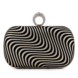 Wholesale Nice Ladies Clutch Bags - Black and White Stripe Bag Female Box Clutch Women Fashion Handbag with Chain Removable Delicate Charms Nice Shoulder Bags