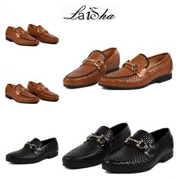 Wholesale E Lace Wedding Dresses - 2017 HotMen Loafers Leather Genuine Luxury Designer Slip On Mens Loafer Shoes Black Tan Italian Brand Dress Loafers Men Moccasins Shoes