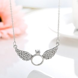 Wholesale Wing Gold Plate Ring - Creative Design Gold Silver Valentines Gift Angel Wings with Rings Crystal Pendant Necklace Statement Jewelry for Women