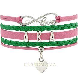 Wholesale alpha leather - Custom-Infinity Love AKA Bracelet Alpha Kappaa Alpha Multilayer Bracelet Heart Charm Salmon Pink Green Suede Leather