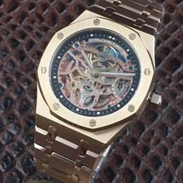 Wholesale Skeleton Date Automatic Mens Watch - Luxury Brand Skeleton Mens watch Brushed Rose Gold Steel Tourbillon Automatic sapphire crystal Folding buckle Hot Casual Man watches