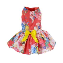Wholesale Princess Dogs - 2017Free shipping Dog Dress Pets Dogs Puppy Cats Princess Bowknot Floral Dress Pets Costume