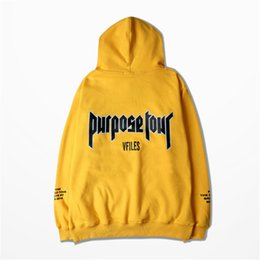 Hoodie con cappuccio giallo online-All'ingrosso-Autunno Hoodies Justin Bieber paura del dio Purpose Tour Giallo Uomo Donna Warm Fleece Hoodies Felpa con cappuccio 3XL