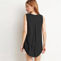 Wholesale Solid Color Boyfriend Shirt - Raodaren Women Blouses Tops Shirts Casual 2017 Summer Plus Size Boyfriend Style Long Blusas Fashion Sleeveless V Neck Chiffon T-shirt