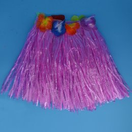 Wholesale Tropical Grasses - 30cm Kids Children Flower Tropical Hawaiian Luau Hula Grass Skirt Dress Dance Skirts Birthday Wedding Party Favors Gift