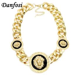 Wholesale Celtic Lion Pendant - Wholesale- Danfosi Gold Color Lion Head Pendant Chunky Chain Necklace Statement Jewelry Fashion Women Accessories Collar Maxi Choker N1334