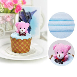Wholesale Mini Birthday Cakes - Creative Lovely Mini Bear Cup Cake Towel Cotton Hand Face Towels Christmas Birthday Party Favors 30x30CM ZA4115