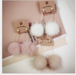 Wholesale Korea Hair Color - Fashion 10 Pairs Mixed Sterling Silver Stud South Korea with a really cute mink hair long earrings wholesale Korean color Fur Ball Earrings