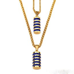 Wholesale Punk Multilayer Chain Necklace - Fashion Necklace Mens Hip Hop Jewelry Blue Crystal Multilayer Chains 18K Gold Plate Punk Rock Rap Men Charms Necklace
