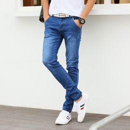 Wholesale Korean Jeans Dresses - Wholesale-Classic Blue Men Jeans Straight Mid-Waist Denim Mens Pants Quality Korean Designs Dress Slim Fit Stretch Jeans Male Plus Size 36