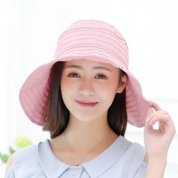 Wholesale Fold Beach Hats - New Arrival women Travel vacation Beach hats lady summer sunscreen folding Wide Large sun hat