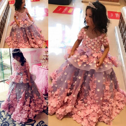 Wholesale Peplum Short Dress - Colorful 3D Flora Appliques Baby Girls Pageant Gowns Peplum Ball Gowns Flower Girl Dresses For Wedding Kids Prom Party Dress