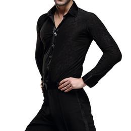 Wholesale Latin Ballroom Tops - High Quality Mens Dancewear Latin Dance Tops Ballroom Modern Rumba Cha Cha Dance Shirt Black UA0188