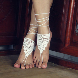 Wholesale Girls Lace Anklets - Crochet white barefoot sandals Nude shoes Foot jewelry Beach wear Yoga shoes Bridal anklet bridal beach accessories white lace sandels FJ018