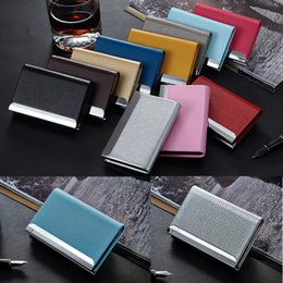 Wholesale Metal Name Business Card Case - Business ID Name Credit Card Wallet Holder, Metal PU Leather Card Case Box Stainless Steel Business Card Case