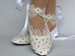 Argentina Nuevos zapatos de vestir de boda del ballet del cordón de marfil de la luz blanca plana de la moda supplier ivory lace ballet wedding shoes Suministro