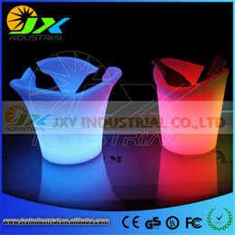 Wholesale Luminous Ice Bucket - Wholesale- 2016New Eco - Friendly High Quality Plastic PP 5L Colorful LED Ice Bucket Champagne Wine Beer Luminous Cooler For Bar Party