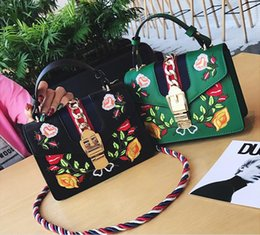 Wholesale Green Party Handbag - 2017 women famous brands Embroidered rose flowers bag fringe crossbody shoulder strap bag luxury designer leather Handbag bag