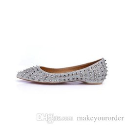 Wholesale Pearl Lighter - wholesale free shipping Europe new gold sequins rivet pointed flats flat with lighter leather women's shoes silver bride shoe 215