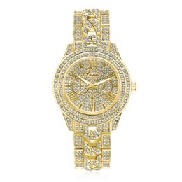 Wholesale Crystal Diamond Bracelets - Luxury Men's Watches Women Diamond Dress Clock Golden Stainless Steel Analog Watch Ladies Crystal Bracelet Wrist Watch