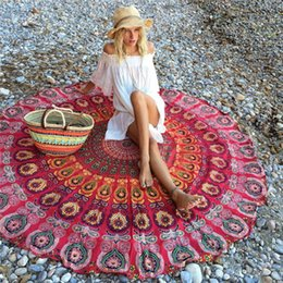 Wholesale Couch Blankets - Wholesale-Round Flowers Yoga Blankets Chiffon Multi-Function Also Used as Wall Hanging Tablecloth Couch Cover Leisure Retro Beach Towel