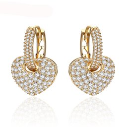 Wholesale Holiday Plates - Pinannie Carat Lover AAA Zircon Heart Shape Drop Earrings for Women Holiday Gifts 3 Gold Colors Wedding Jewelry Brincos