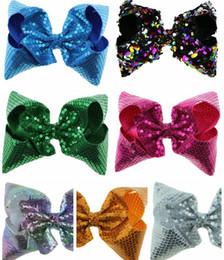 Wholesale Rainbow Flower Bow - children Princess Sequined head flower new rainbow sequins bow hairpin Christmas headdress Girls hair ornaments 8inch width 7.5 cm