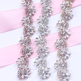 Wholesale Bead Trimming - 5Yards Rhinestones Trim Iron On Wedding Dresses Belt Rose Gold Silver Rhinetones Clear Bead Crystal Sewing On DIY Bridal Sashes