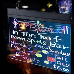 """Wholesale Battery X12 - 16""""x12"""" Flashing Illuminated Erasable Neon LED Message Menu Sign Clear Glass Writing Board, 7 Colors of RGB 28 Flashing Mode(battery powerd)"""