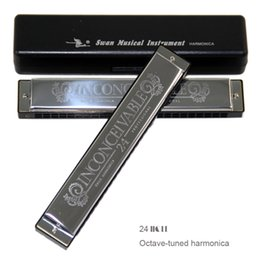 Wholesale Tuning Plate - Wholesale-New 2016 Swan 24 Holes Octave-tuned harmonica,metal harmonica, Key of C with Case