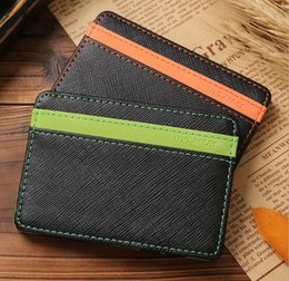 Wholesale Money Clip Wallet For Women - Unisex Magic Wallets Money Clip Fashion PU Leather Slim Magic Wallet Car Purse For Men Women Pocket Purse Card Holders Money Clip KKA3126