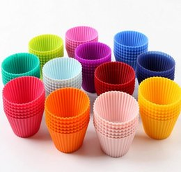 Wholesale silicone cake mould set - 12piece set Colorful Thick Silicone Cake Mold Muffin Cups 7.1cm Puffs Ice Lattice Mold Jelly Mold