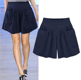Wholesale Tight Satin Woman - Brand new Summer new large size women's wide leg shorts fat sister tight waist fashion Slim hot pants WS026 Women's Shorts