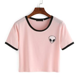 Wholesale Wholesale Hot Pink Tee Shirts - Wholesale-Pink White Fashion Women Alien T Shirt Summer Style Harajuku T-shirt Cute Graphic Print Tees Female Kawaii Tee Tops Hot Sale