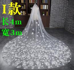 Wholesale Free Net Meter - Free Shipping! White 4 Meters Long Train Lace Applique Edge Veils Bridal Veils V419005