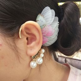 Wholesale Pink Hand Cuffs - Pure hand jewelry Japan and South Korea light cicada wing butterfly wings ear hook pearl pendants ear hanging earrings