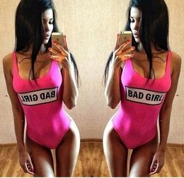 Wholesale Spot Shorts Girls - The spot speed sell through Europe and the United States the new BAD GIRL printed letters sexy bikini one-piece swimsuit pink women female