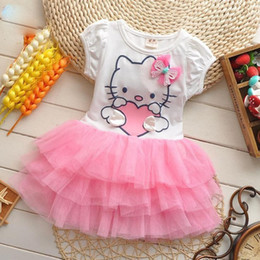 Wholesale Girls Summer Dresses Wings - summer style girls dress Hello kitty cartoon KT wings tutu dress bow veil Kids love children's clothing free shipping